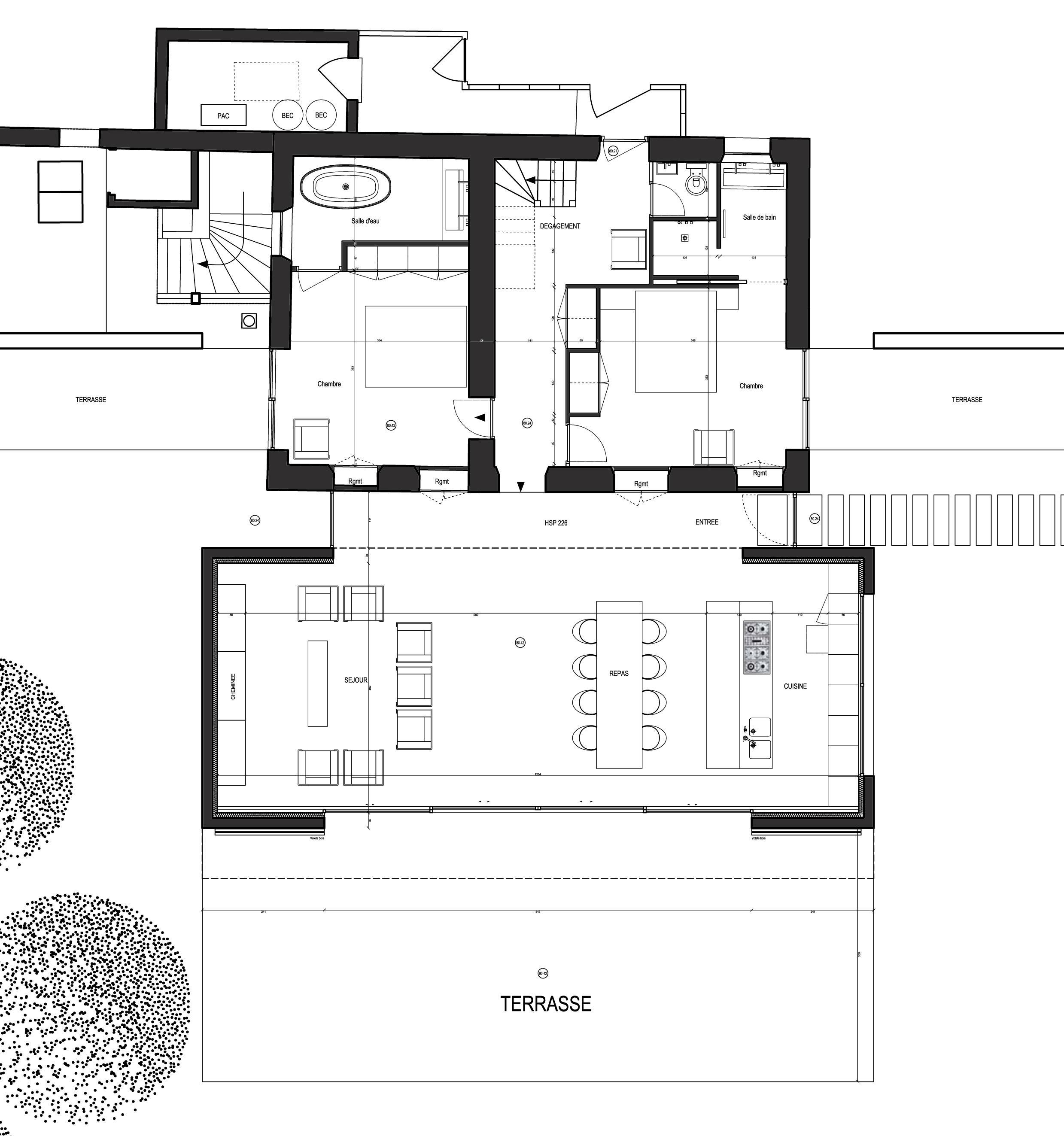 rez-de-jardin existant et extension extension contemporaine - normandie 28