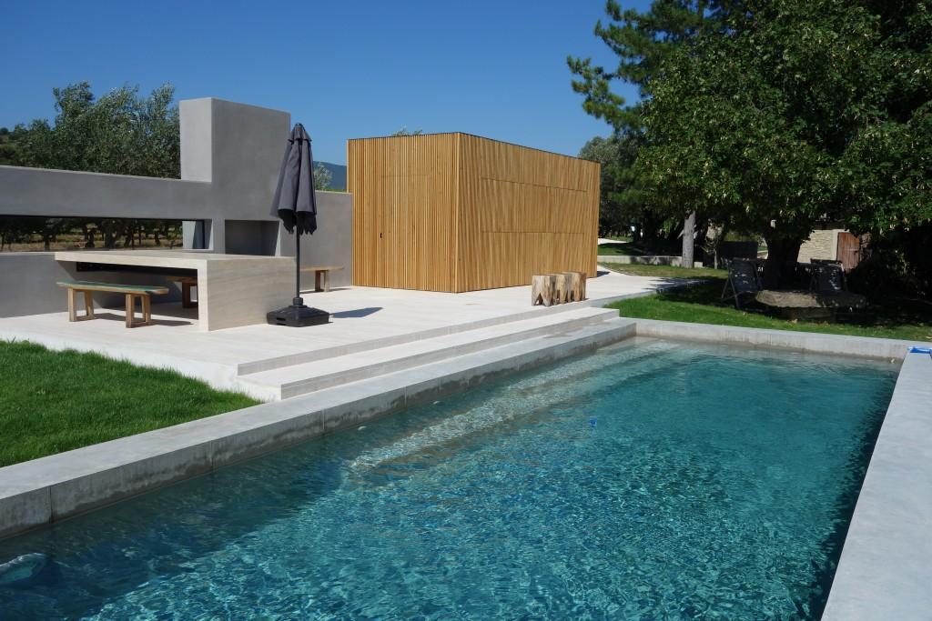R alisation d 39 une piscine en b ton et de son pool house - Piscine jean boiteux paris ...