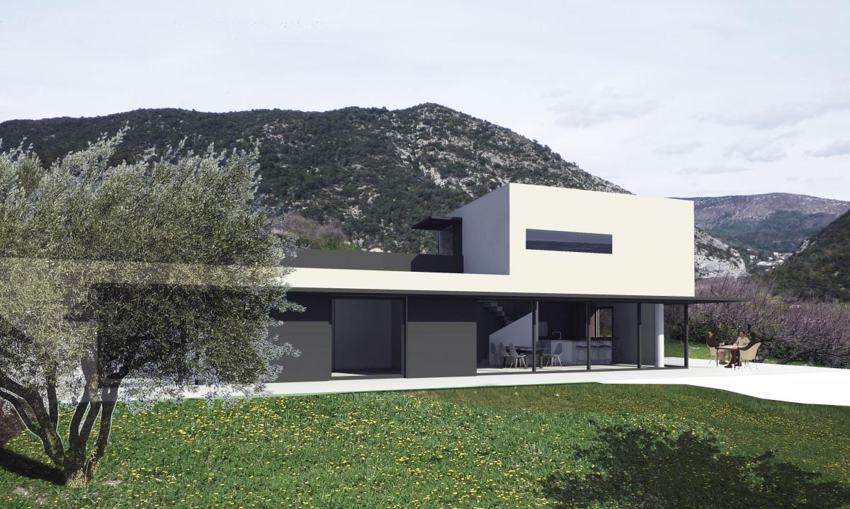 Cr ation d une maison contemporaine nyons 26 dr me for Constructeur de maison contemporaine drome